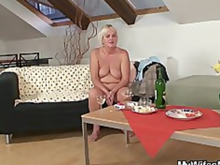 drunk fuckfest with excited granny and her son in