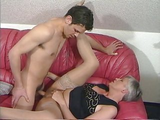 grey haired granny in nylons bonks the guy