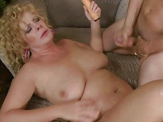 busty aged lady slurps on biggest chubby prick