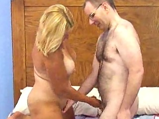 chesty older chubby blonde receives boned doggy