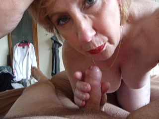 mature karen oral sex and facial spunk fountain