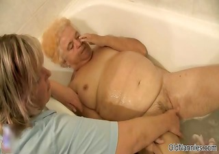 nasty old woman receives her shaggy pussy