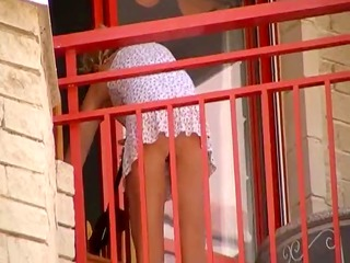babes cleaning balcony no pants upskirt 0