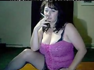 busty mama tells to cum while she is smokes by