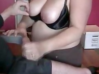 obese wife giving fantastic handjob to spouse