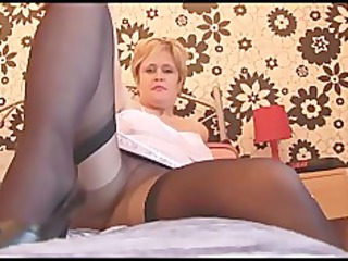 breasty aged babe in hose nylons and slide