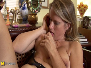 hot american cougar mom masturbates whilst