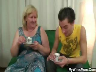 bulky blonde granny has tea and receives nailed