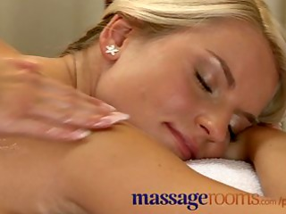 Massage Rooms Busty mature woman oiled by young