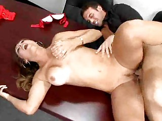 mature latin babe bonks young fellow in the office