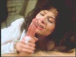 vintage retro aged woman oral-stimulation with