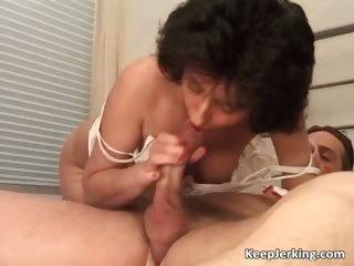 aged dark brown wench receives bushy muff