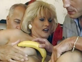 Mature German blonde gets double fucked